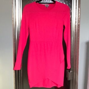 Neon Pink long sleeve bodycon dresss